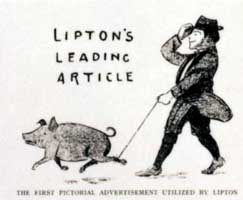 Early cartoon displayed in Lipton's shops