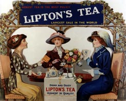'Honest Tea is the Best Policy: Drink and Enjoy Lipton's tea'. Advertisement  c1915, USA.