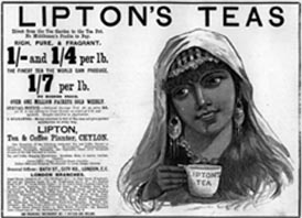 'Lipton's Teas: Rich, Pure and Fragrant'. Advertisement c1892.