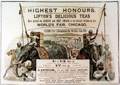 ''Highest Honours - Lipton's Delicious Teas Have gained the Highest and Only Award in the British Section at the World's Fair, Chicago'. Advertisement c1894.